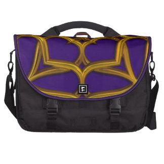 Gold Celtic Weave On Purple Background Laptop Bag