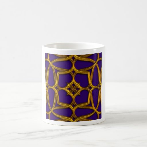 Gold Celtic Weave On Purple Background Coffee Mugs