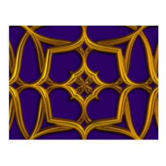 Gold Celtic Weave On Purple Background Postcard