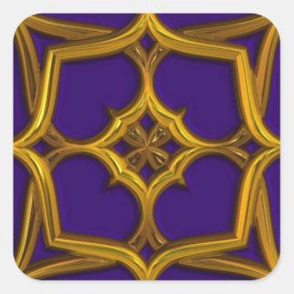 Gold Celtic Weave On Purple Background Square Sticker