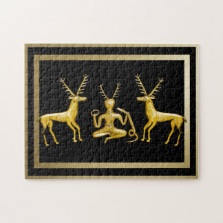 Gold Cernunnos & Deer - Puzzle