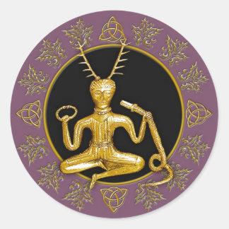 Gold Cernunnos, Holly, & Tri-quatra #2 - Sticker