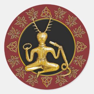 Gold Cernunnos, Holly, & Tri-quatra #3 - Sticker