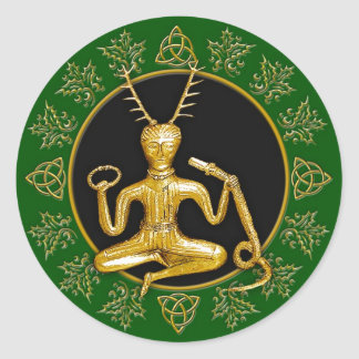 Gold Cernunnos, Holly, & Tri-quatra #7 - Sticker