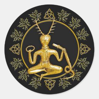 Gold Cernunnos, Holly, & Tri-quatra #9 - Sticker