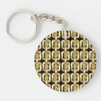 Gold Chain and Gem Bling Art Single-Sided Round Acrylic Keychain