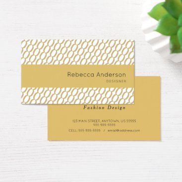 Beach Themed Gold Chain Knit Pattern Business Card