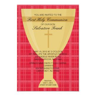 Gold Chalice First  Communion Invitation