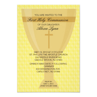 Gold Chalice Girl's  First  Communion Invitation