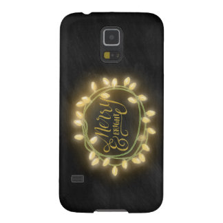 Gold Chalk Drawn Merry and Bright Holiday Galaxy S5 Case