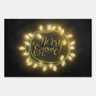 Gold Chalk Drawn Merry and Bright Holiday Sign