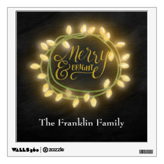Gold Chalk Drawn Merry and Bright Holiday Wall Decal
