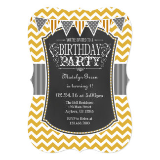 Gold Chalkboard Chevron Birthday Invite