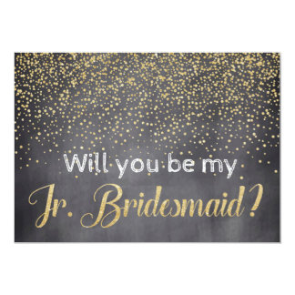 Gold & Chalkboard Will you be My Jr. Bridesmaid Card