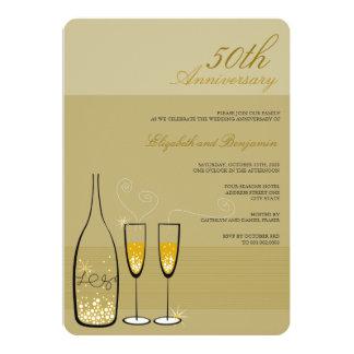 Gold Champagne 50th Wedding Anniversary Invite