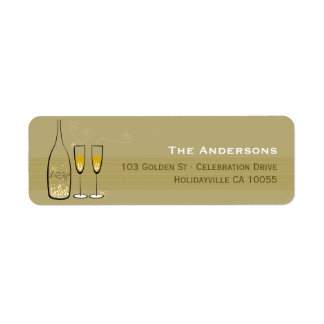 Gold Champagne Bubbles Cheers Address Labels