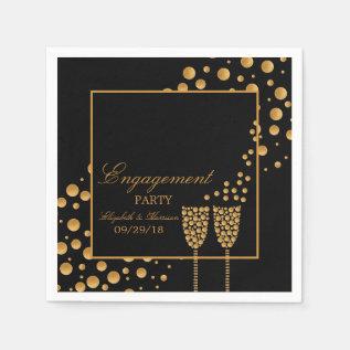 Gold Champagne Bubbles Engagement Party Paper Napkin at Zazzle