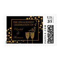 Gold Champagne Bubbles Engagement Party Postage