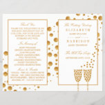 """Gold Champagne Bubbles Wedding Bi-fold Program<br><div class=""""desc"""">These Gold Champagne Bubble Wedding bi-fold programs are perfect for any couple planning a glitzy wedding celebration The elegant design can be personalized to suit your special event and will be the perfect order of service for any vintage themed event, including; bridal showers, engagements, wedding showers, birthday parties and much,...</div>"""