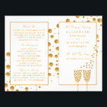 """Gold Champagne Bubbles Wedding Bi-fold Program Flyer<br><div class=""""desc"""">These Gold Champagne Bubble Wedding bi-fold programs are perfect for any couple planning a glitzy wedding celebration The elegant design can be personalized to suit your special event and will be the perfect order of service for any vintage themed event, including; bridal showers, engagements, wedding showers, birthday parties and much,...</div>"""