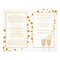 Gold Champagne Bubbles Wedding Bi-fold Program Flyer