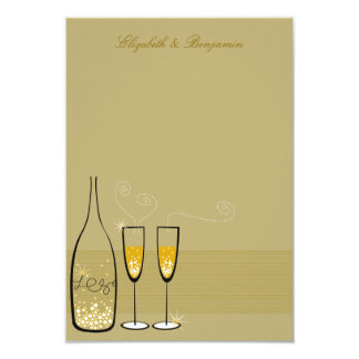 Gold Champagne Bubbles Wedding Chic Thank You Card Invitation