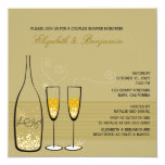 Gold Champagne Bubbles Wedding Couples Shower Invite