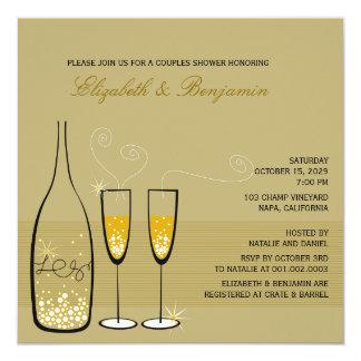 Gold Champagne Bubbles Wedding Couples Shower Invite