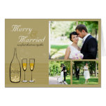 Gold Champagne Bubbles Wedding Holiday Card Greeting Cards