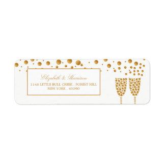 Gold Champagne Bubbles Wedding Label
