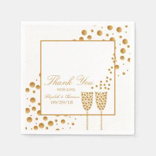 Gold Champagne Bubbles Wedding Paper Napkin at Zazzle