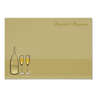 Gold Champagne Bubbles Wedding Thank You Note 3.5x5 Paper Invitation Card