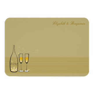Gold Champagne Bubbly Chic Wedding Thank You Card
