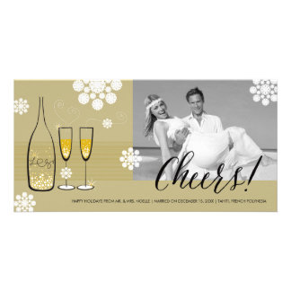 Gold Champagne Cheers Elegant Holiday Photo Card