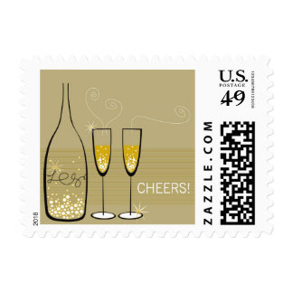Gold Champagne Cheers Holiday Celebration Stamps