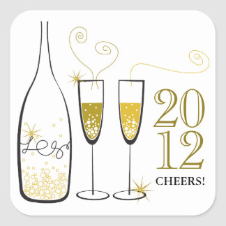Gold Champagne Cheers New Year Holiday Sticker