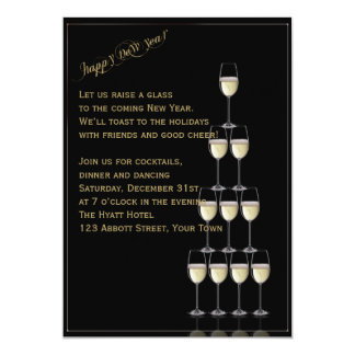 Gold Champagne Flute Pyramid New Years Eve 5x7 Paper Invitation Card