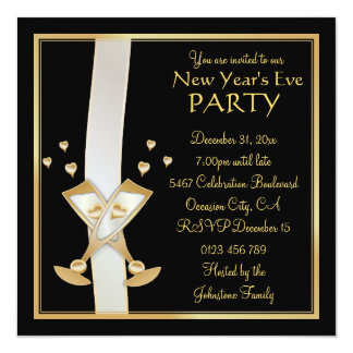 Gold Champagne on Black New Year Party Invitation