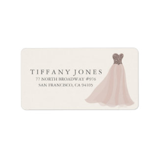 Gold Champagne Shimmer Glitter Dress Address Label