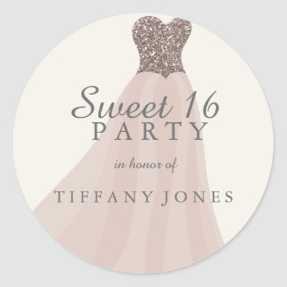 Gold Champagne Shimmer Glitter Gown Sweet 16 Classic Round Sticker