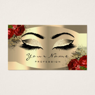 Gold Champaigne Makeup Artist Lash Floral Red Rose Business Card