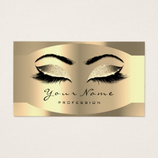 Gold Champaigne Makeup Artist Lashes Extension Business Card