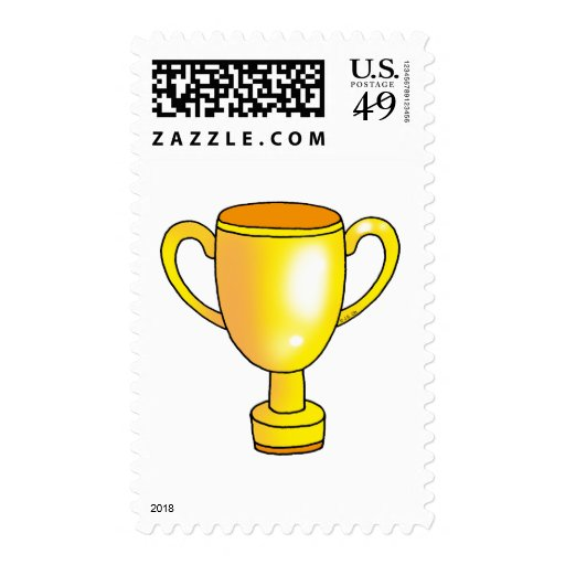 gold champion trophy cup stamp