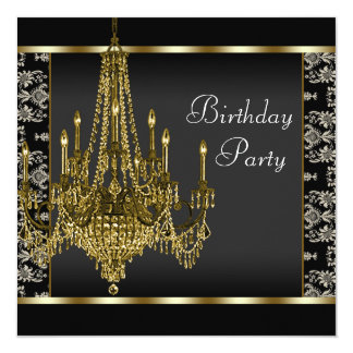 Gold Chandelier Black Damask Birthday Party Card