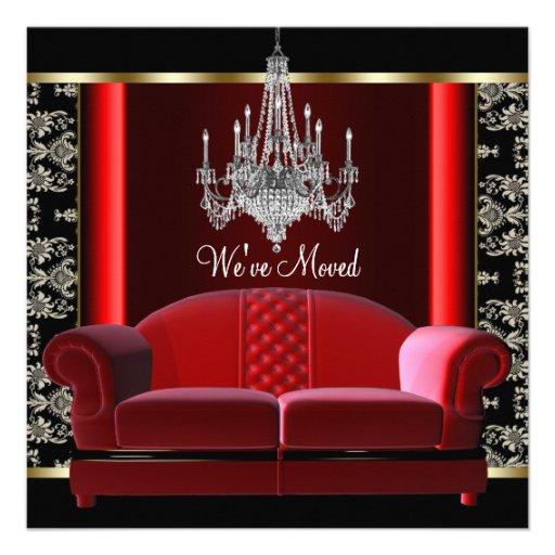 Gold Chandelier Black Damask Change of Address Custom Invitation