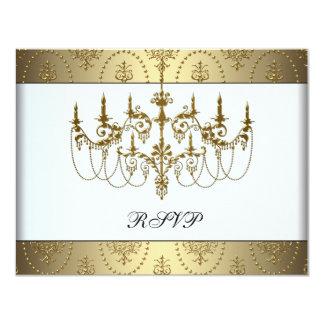 Gold Chandelier Classy Sweet Sixteen Ball RSVP 4.25x5.5 Paper Invitation Card