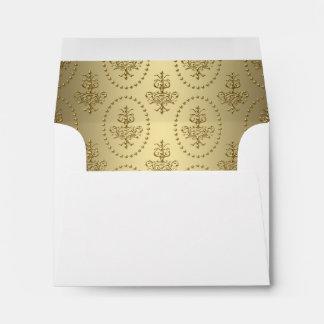 Gold Chandelier Crest Classy White RSVP Envelope