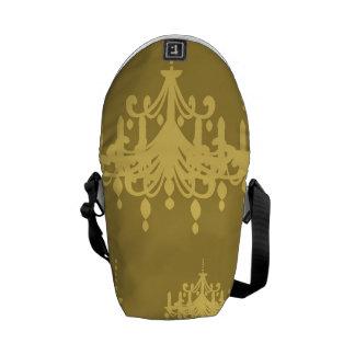 gold chandelier damask pattern courier bag
