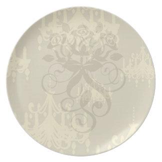 gold chandelier damask pattern plate