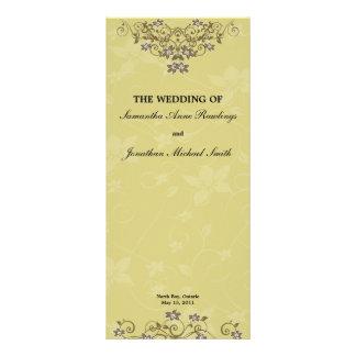 Gold Chandelier Floral Wedding Program Full Color Rack Card